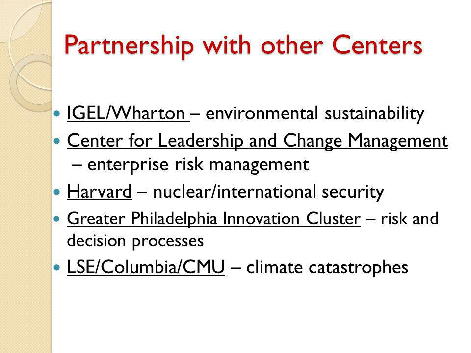 Partnership with other Centers IGEL/Wharton – environmental sustainability Center for Leadership and Change Management – enterprise risk management Harvard – nuclear/international security Greater Philadelphia Innovation Cluster – risk and decision processes LSE/Columbia/CMU – climate catastrophes