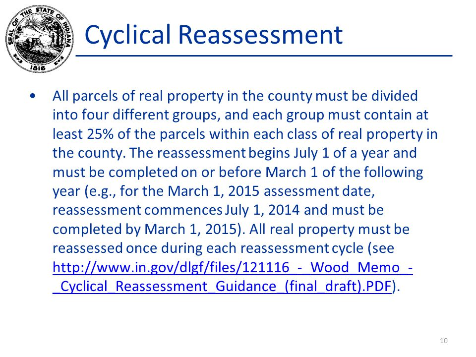 Cyclical Reassessment All parcels of real property in the county must be divided into four different groups, and each group must contain at least 25%