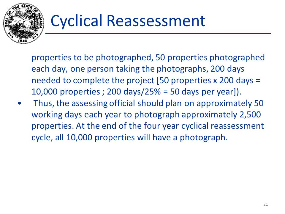 Cyclical Reassessment properties to be photographed, 50 properties photographed each day, one person taking the photographs, 200 days needed to comple
