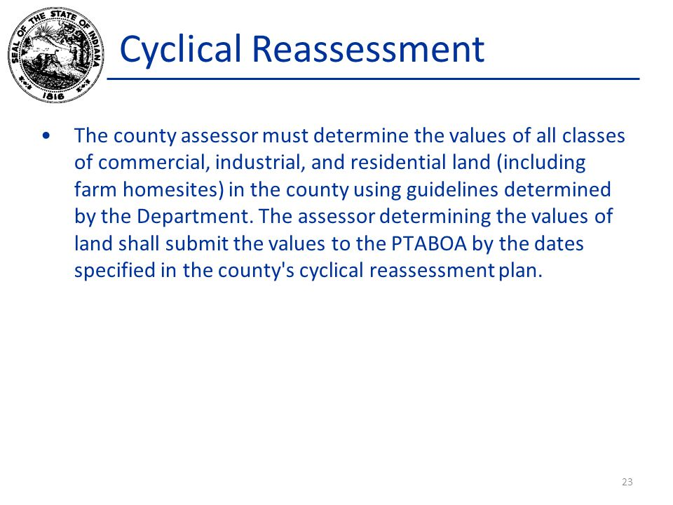 Cyclical Reassessment The county assessor must determine the values of all classes of commercial, industrial, and residential land (including farm hom