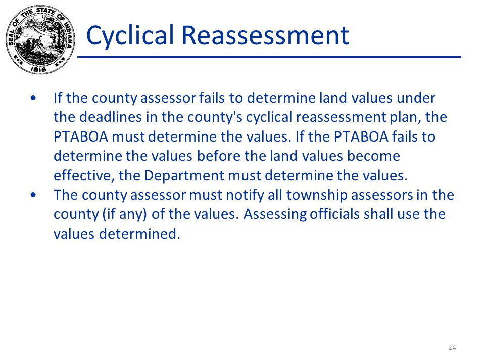 Cyclical Reassessment If the county assessor fails to determine land values under the deadlines in the county's cyclical reassessment plan, the PTABOA