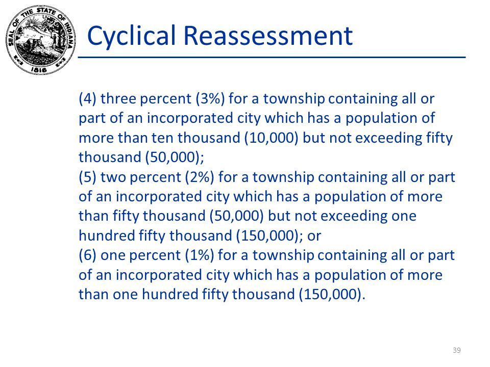 Cyclical Reassessment (4) three percent (3%) for a township containing all or part of an incorporated city which has a population of more than ten tho