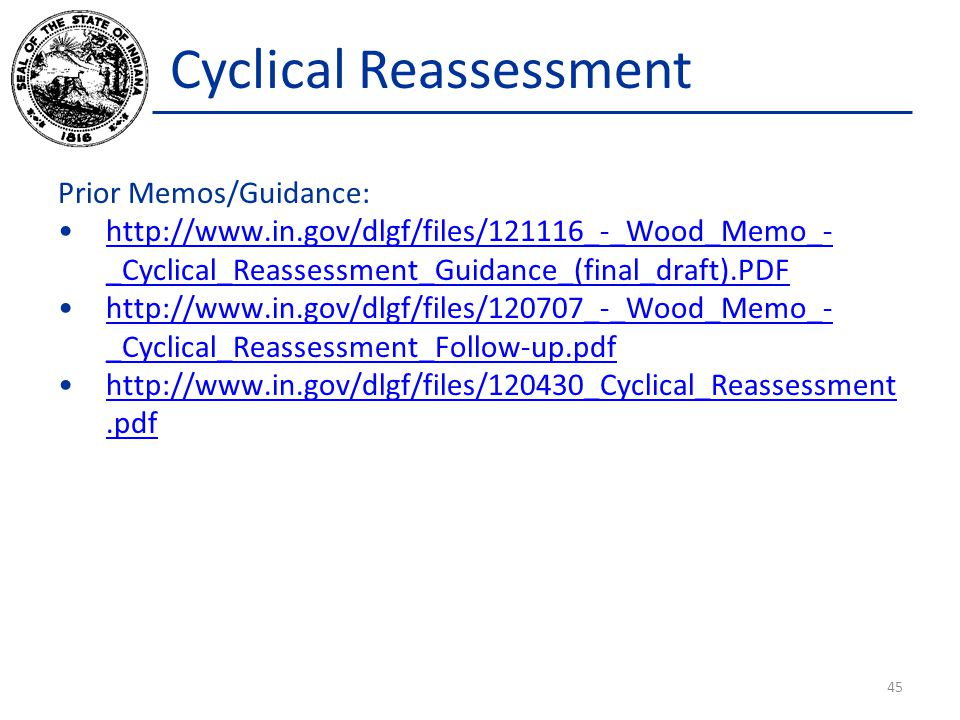 Cyclical Reassessment Prior Memos/Guidance: http://www.in.gov/dlgf/files/121116_-_Wood_Memo_- _Cyclical_Reassessment_Guidance_(final_draft).PDFhttp://