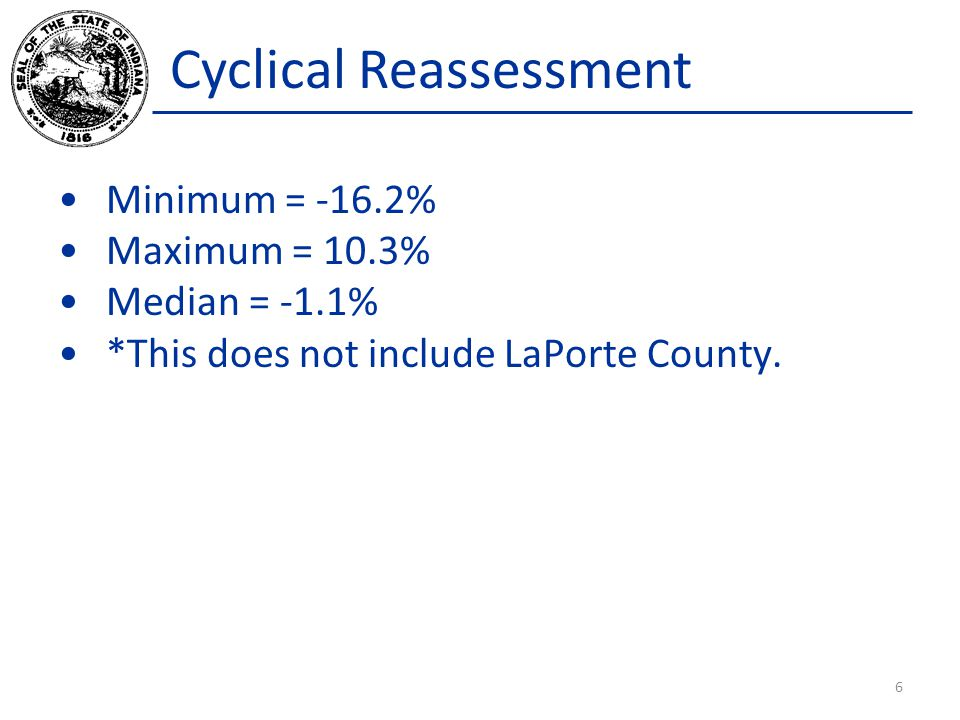 Cyclical Reassessment Minimum = -16.2% Maximum = 10.3% Median = -1.1% *This does not include LaPorte County. 6