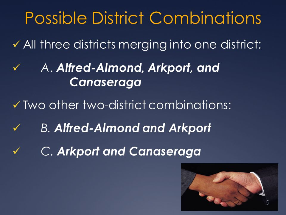 Possible District Combinations All three districts merging into one district: A. Alfred-Almond, Arkport, and Canaseraga Two other two-district combina