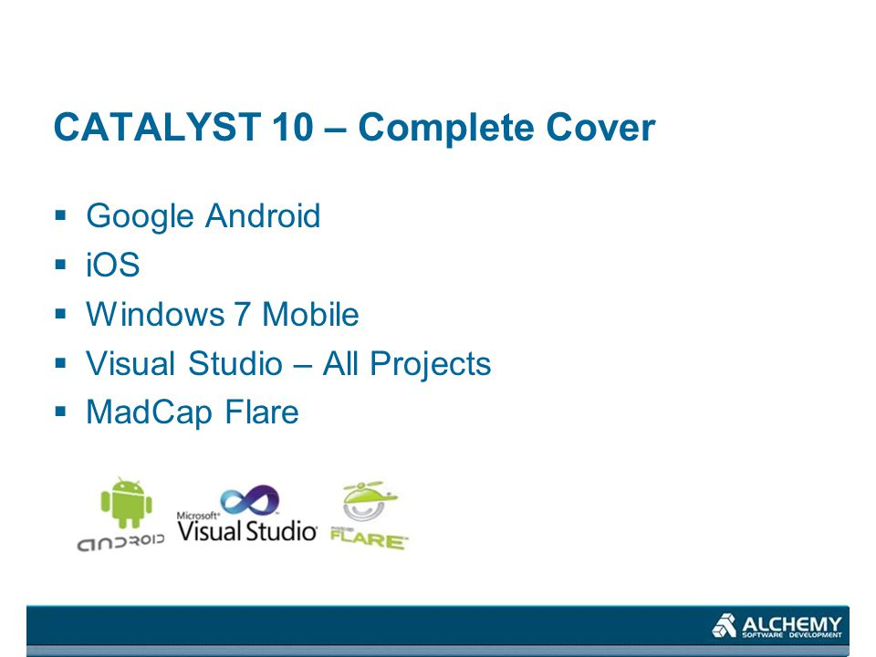 CATALYST 10 – Complete Cover Google Android iOS Windows 7 Mobile Visual Studio – All Projects MadCap Flare