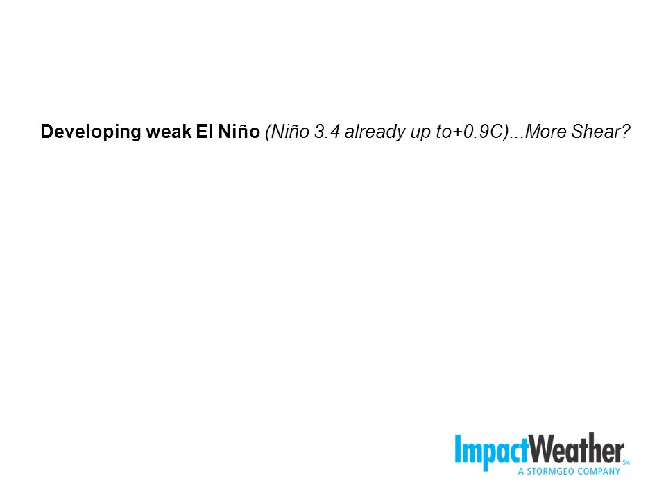 Developing weak El Niño (Niño 3.4 already up to+0.9C)...More Shear