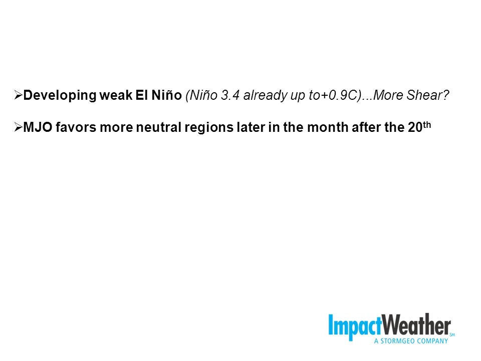 Developing weak El Niño (Niño 3.4 already up to+0.9C)...More Shear.