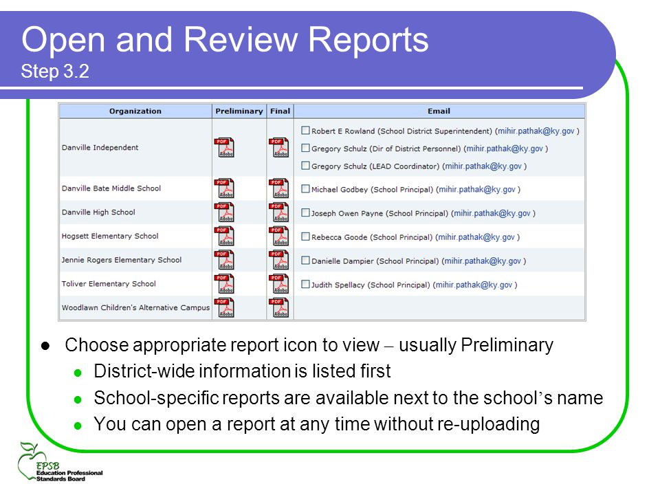 Open and Review Reports Step 3.2 Choose appropriate report icon to view – usually Preliminary District-wide information is listed first School-specifi