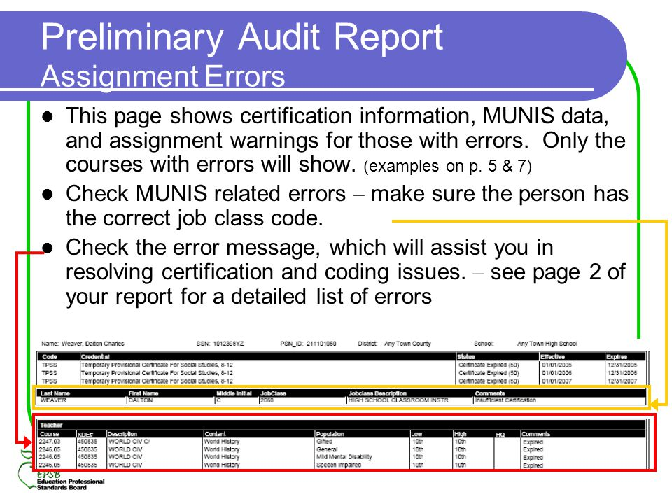 Preliminary Audit Report Assignment Errors This page shows certification information, MUNIS data, and assignment warnings for those with errors. Only