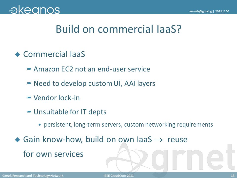 Greek Research and Technology NetworkIEEE CloudCom 201113 vkoukis@grnet.gr| 20111130 Build on commercial IaaS? Commercial IaaS Amazon EC2 not an end-u