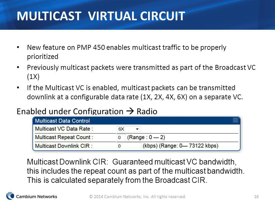 MULTICAST VIRTUAL CIRCUIT New feature on PMP 450 enables multicast traffic to be properly prioritized Previously multicast packets were transmitted as