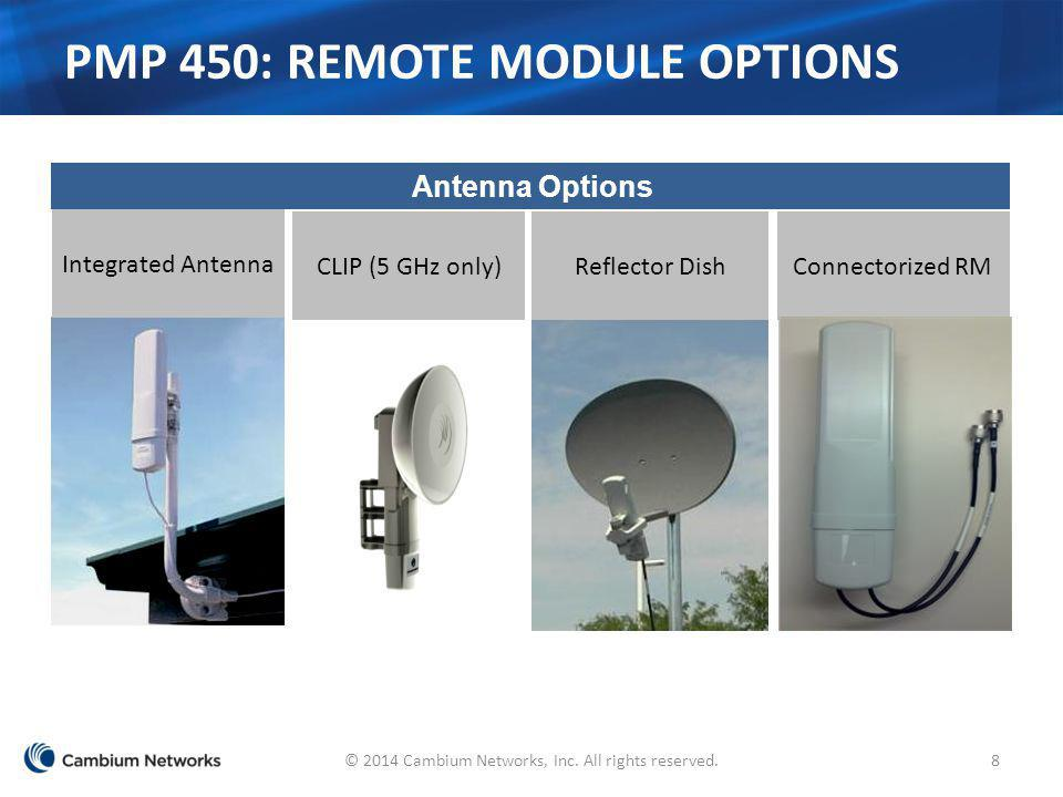 Connectorized RM PMP 450: REMOTE MODULE OPTIONS Antenna Options Reflector DishCLIP (5 GHz only) Integrated Antenna 8© 2014 Cambium Networks, Inc. All