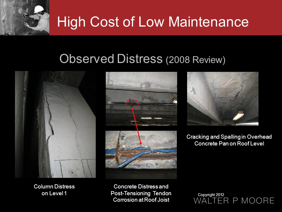 Observed Distress (2008 Review) Column Distress on Level 1 Concrete Distress and Post-Tensioning Tendon Corrosion at Roof Joist Cracking and Spalling in Overhead Concrete Pan on Roof Level High Cost of Low Maintenance Copyright 2012