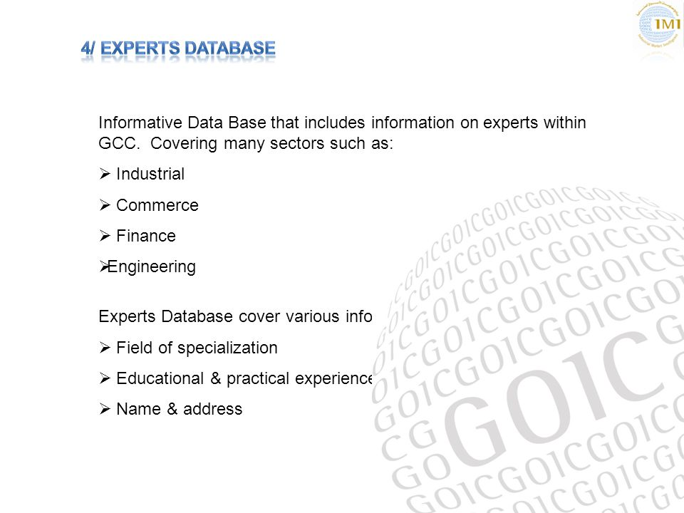 Informative Data Base that includes information on experts within GCC.