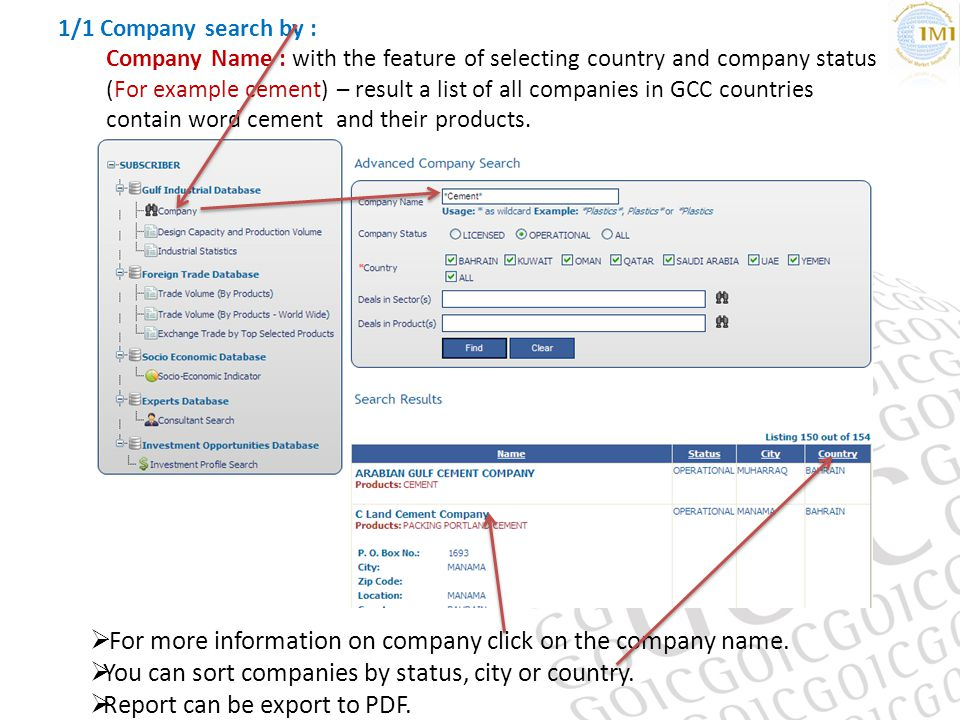 1/1 Company search by : Company Name : with the feature of selecting country and company status (For example cement) – result a list of all companies in GCC countries contain word cement and their products.