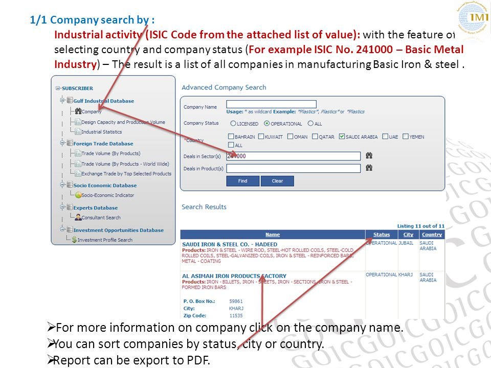 1/1 Company search by : Industrial activity (ISIC Code from the attached list of value): with the feature of selecting country and company status (For example ISIC No.