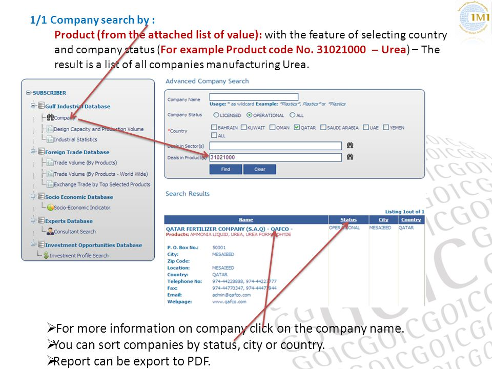 1/1 Company search by : Product (from the attached list of value): with the feature of selecting country and company status (For example Product code No.