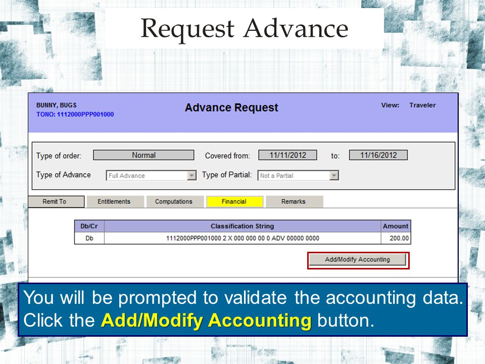 You will be prompted to validate the accounting data.