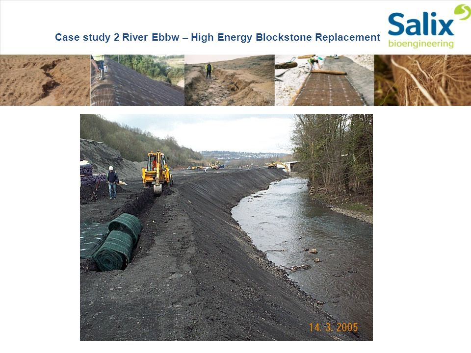 Slopes Cut & Prepared in Colliery Shale Grass & Legume Mix Sown Case study 2 River Ebbw – High Energy Blockstone Replacement
