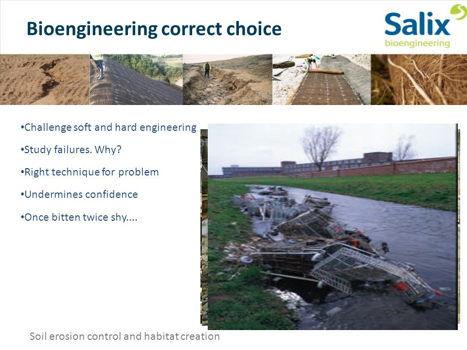 Bioengineering correct choice Soil erosion control and habitat creation Challenge soft and hard engineering Study failures.