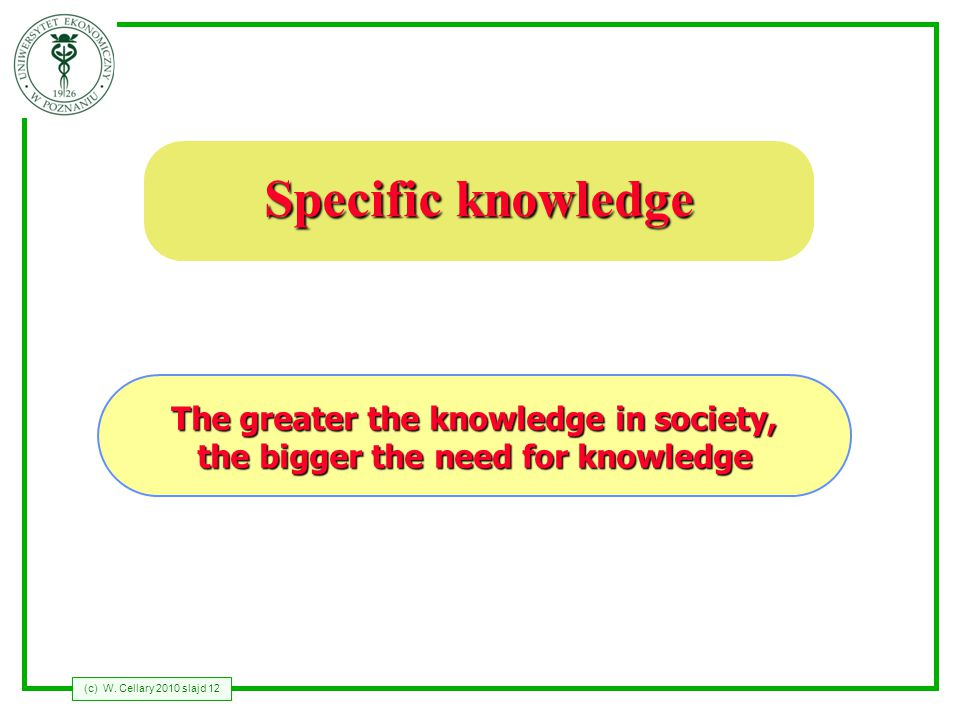 (c) W. Cellary 2010 slajd 12 Specific knowledge The greater the knowledge in society, the bigger the need for knowledge