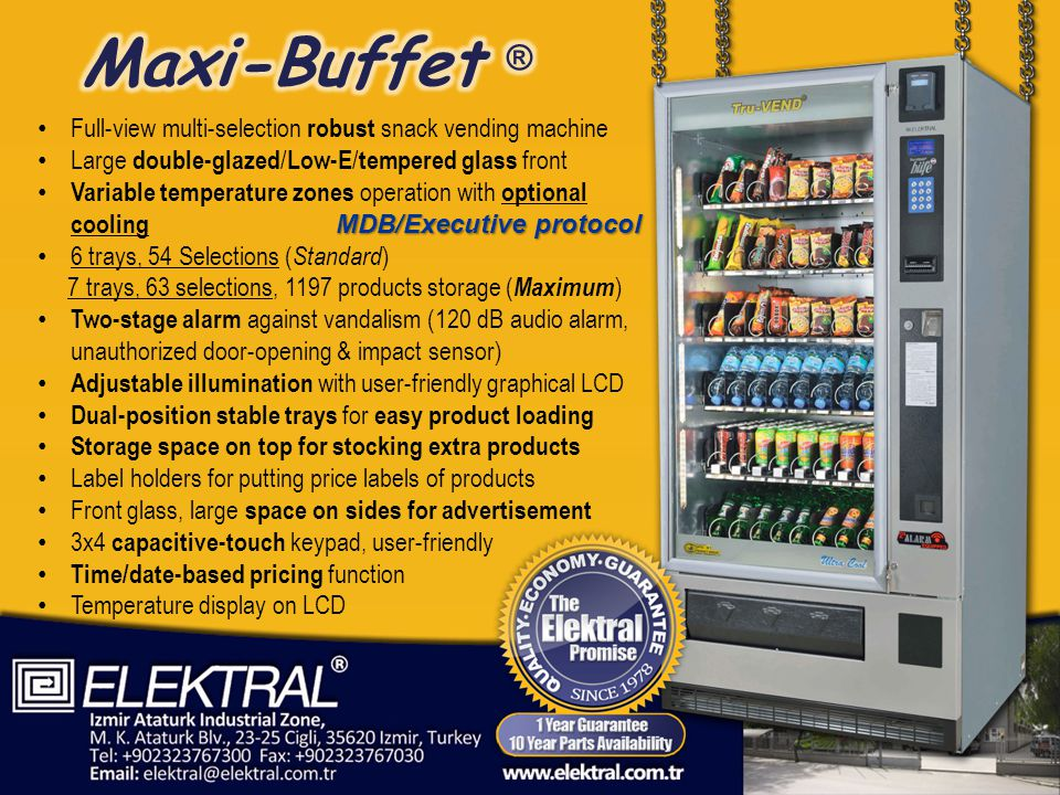 Full-view multi-selection robust snack vending machine Large double-glazed / Low-E / tempered glass front Variable temperature zones operation with optional cooling MDB/Executive protocol 6 trays, 54 Selections ( Standard ) 7 trays, 63 selections, 1197 products storage ( Maximum ) Two-stage alarm against vandalism (120 dB audio alarm, unauthorized door-opening & impact sensor) Adjustable illumination with user-friendly graphical LCD Dual-position stable trays for easy product loading Storage space on top for stocking extra products Label holders for putting price labels of products Front glass, large space on sides for advertisement 3x4 capacitive-touch keypad, user-friendly Time/date-based pricing function Temperature display on LCD
