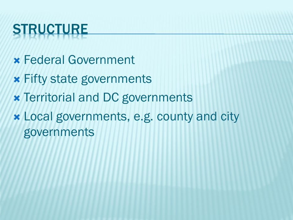 Federal Government Fifty state governments Territorial and DC governments Local governments, e.g.