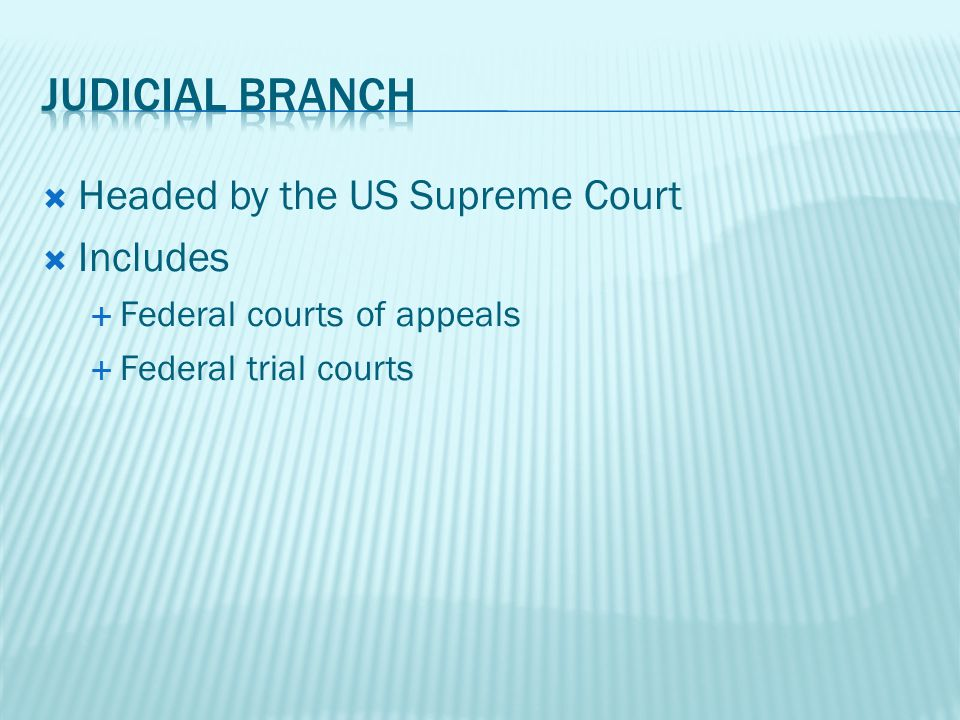 Headed by the US Supreme Court Includes Federal courts of appeals Federal trial courts