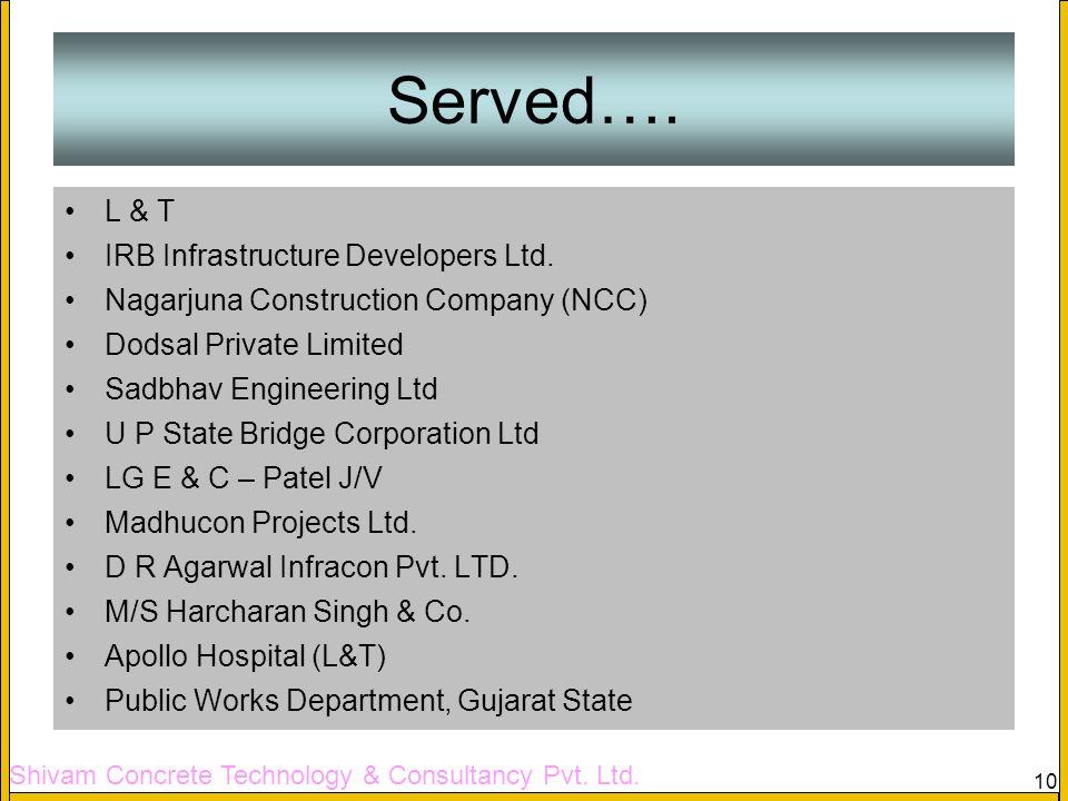 Shivam Concrete Technology & Consultancy Pvt. Ltd. 10 Served…. L & T IRB Infrastructure Developers Ltd. Nagarjuna Construction Company (NCC) Dodsal Pr