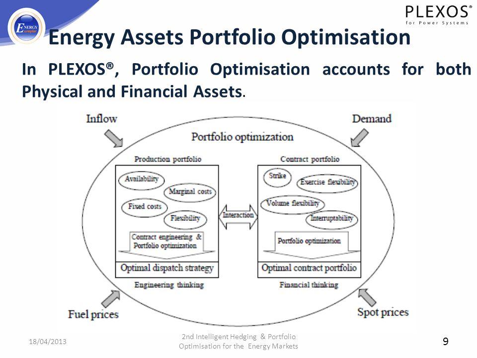 9 Energy Assets Portfolio Optimisation 2nd Intelligent Hedging & Portfolio Optimisation for the Energy Markets 18/04/2013 In PLEXOS®, Portfolio Optimi