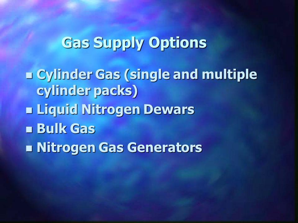 Gas Supply Options n Cylinder Gas (single and multiple cylinder packs) n Liquid Nitrogen Dewars n Bulk Gas n Nitrogen Gas Generators