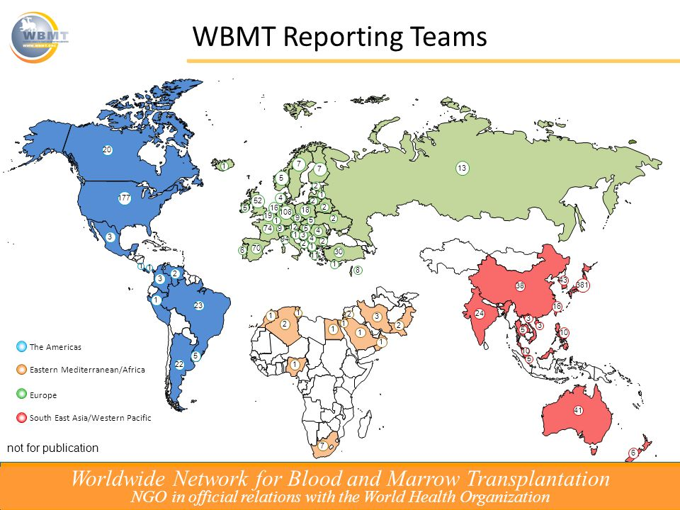 The Americas Eastern Mediterranean/Africa Europe South East Asia/Western Pacific 38 381 43 10 16 41 3 24 5 6 3 10 5 WBMT Reporting Teams Worldwide Network for Blood and Marrow Transplantation NGO in official relations with the World Health Organization not for publication