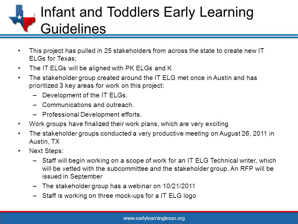 www.earlylearningtexas.org This project has pulled in 25 stakeholders from across the state to create new IT ELGs for Texas; The IT ELGs will be aligned with PK ELGs and K The stakeholder group created around the IT ELG met once in Austin and has prioritized 3 key areas for work on this project: –Development of the IT ELGs.