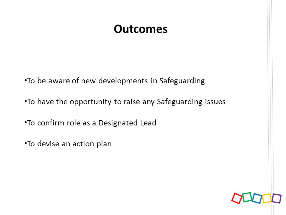 Outcomes To be aware of new developments in Safeguarding To have the opportunity to raise any Safeguarding issues To confirm role as a Designated Lead