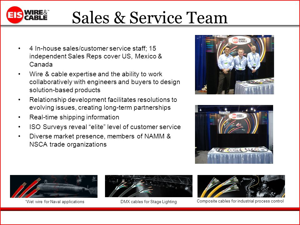 Sales & Service Team 4 In-house sales/customer service staff; 15 independent Sales Reps cover US, Mexico & Canada Wire & cable expertise and the ability to work collaboratively with engineers and buyers to design solution-based products Relationship development facilitates resolutions to evolving issues, creating long-term partnerships Real-time shipping information ISO Surveys reveal elite level of customer service Diverse market presence, members of NAMM & NSCA trade organizations Wet wire for Naval applicationsDMX cables for Stage Lighting Composite cables for industrial process control