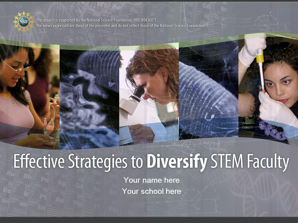 2 Teams of Faculty Developed Recommendations Faculty, administrators and diversity experts from 7 universities worked as teams to evaluate and propose these strategies for use in STEM departments New Mexico State University, University Texas, El Paso, University New Mexico, University Washington, University California Irvine, University Texas, Brownsville, Michigan Tech Colleges of Engineering, Arts & Science, Agriculture & Home Economics Deans, Department Heads/Chairs, Professors Process: Spring 2005Information gathering Summer 2005Working retreat to develop presentation Fall 2005Review process