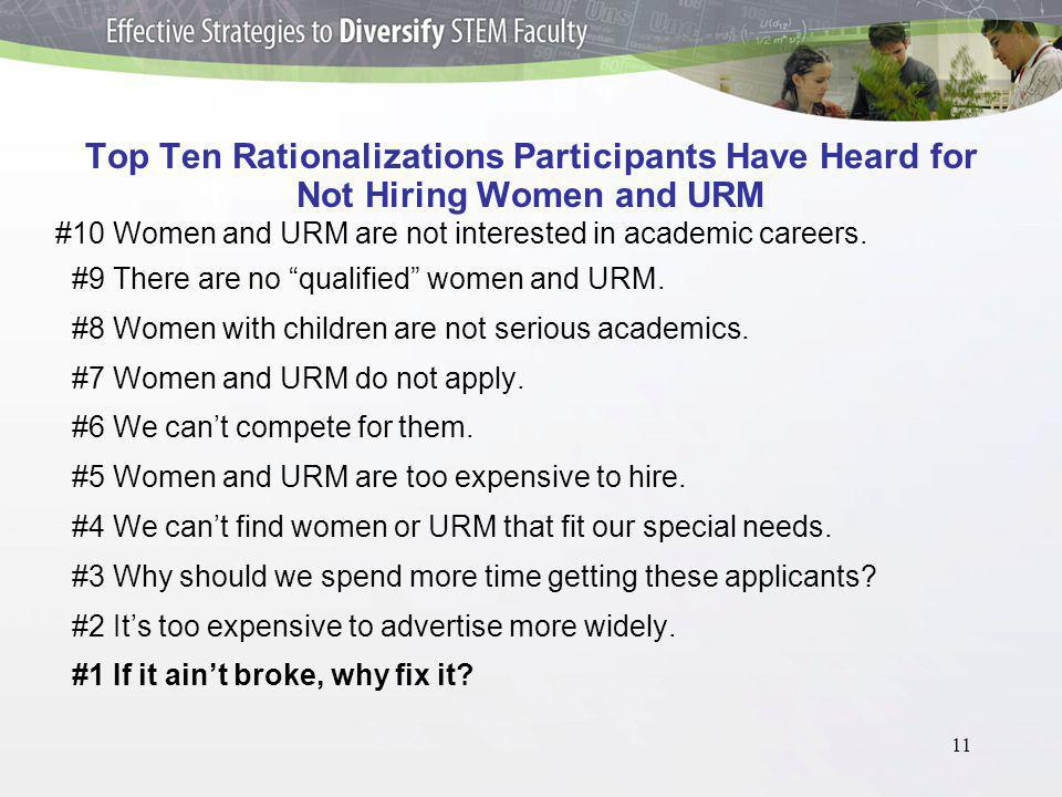 11 Top Ten Rationalizations Participants Have Heard for Not Hiring Women and URM #10 Women and URM are not interested in academic careers.