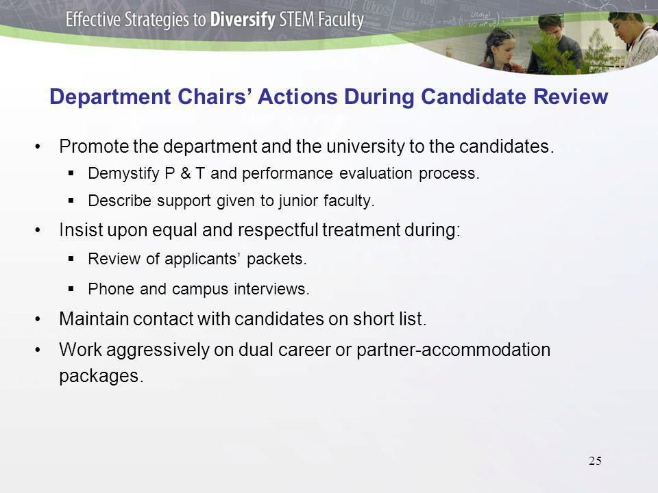 25 Department Chairs Actions During Candidate Review Promote the department and the university to the candidates.