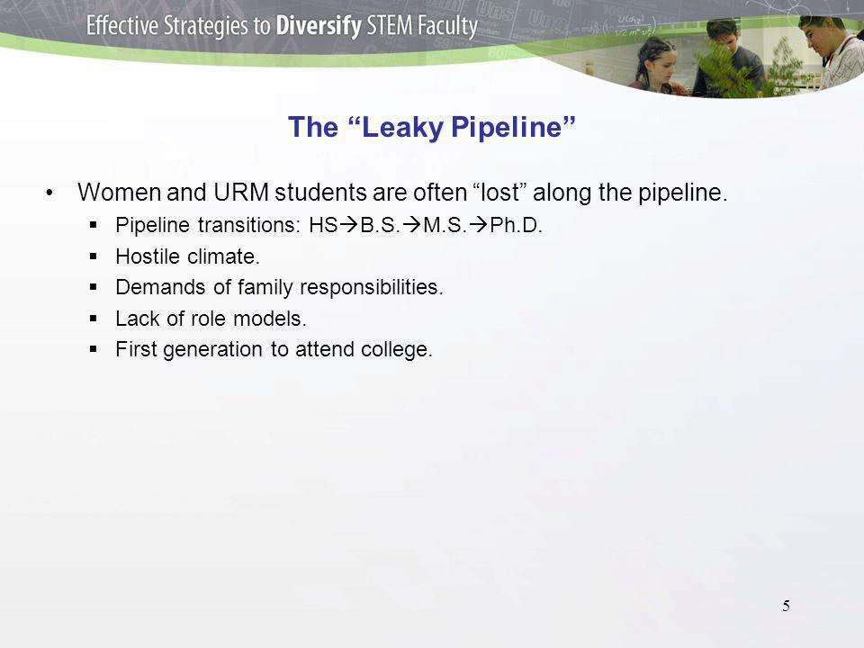 5 The Leaky Pipeline Women and URM students are often lost along the pipeline.