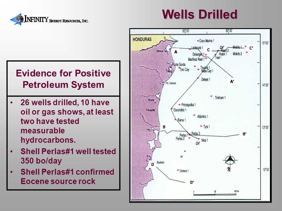 Evidence for Positive Petroleum System 26 wells drilled, 10 have oil or gas shows, at least two have tested measurable hydrocarbons. Shell Perlas#1 we