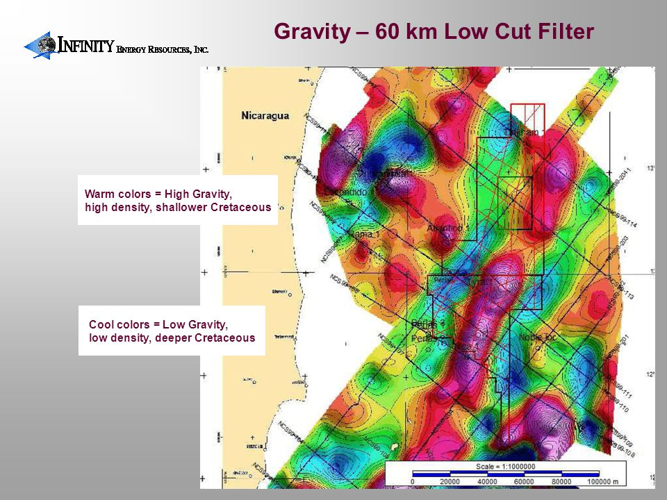 Gravity – 60 km Low Cut Filter Warm colors = High Gravity, high density, shallower Cretaceous Cool colors = Low Gravity, low density, deeper Cretaceou