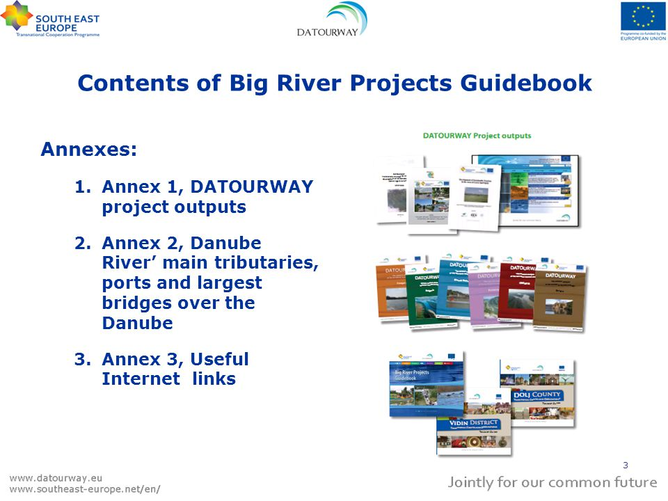 Contents of Big River Projects Guidebook Annexes: 1.Annex 1, DATOURWAY project outputs 2.Annex 2, Danube River main tributaries, ports and largest bridges over the Danube 3.Annex 3, Useful Internet links 3