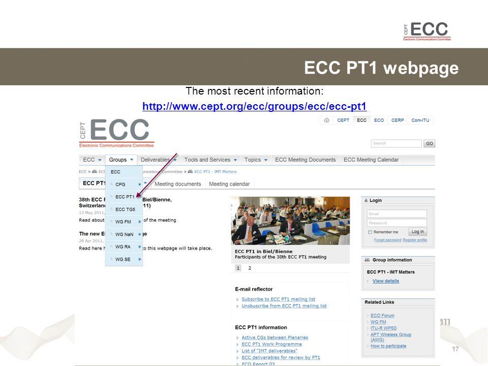 ECC PT1 webpage The most recent information: http://www.cept.org/ecc/groups/ecc/ecc-pt1 17