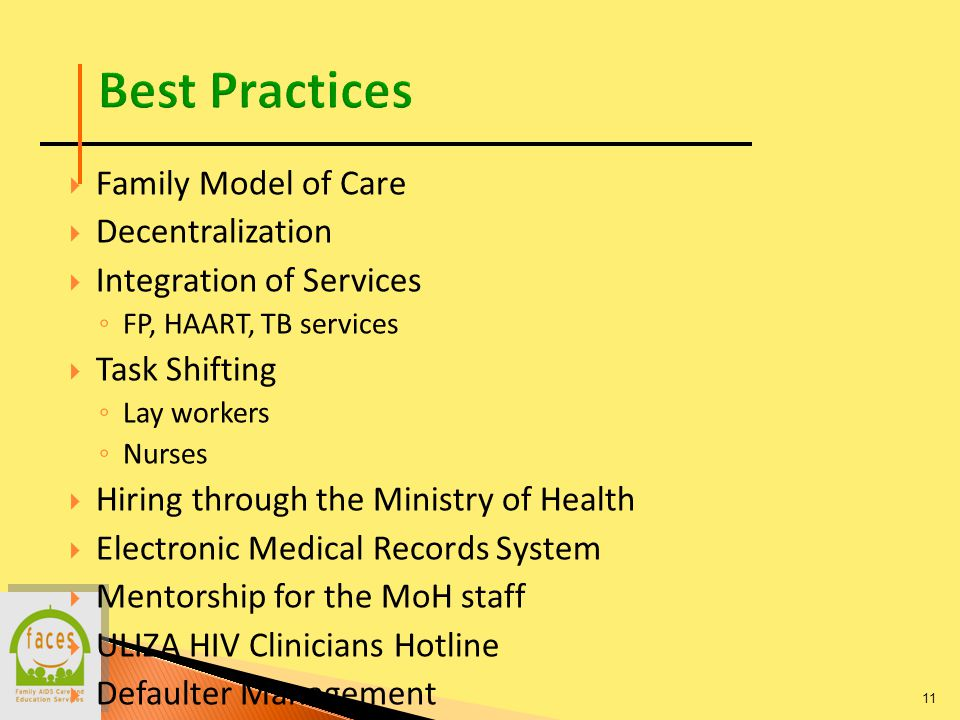 Family Model of Care Decentralization Integration of Services FP, HAART, TB services Task Shifting Lay workers Nurses Hiring through the Ministry of Health Electronic Medical Records System Mentorship for the MoH staff ULIZA HIV Clinicians Hotline Defaulter Management 11