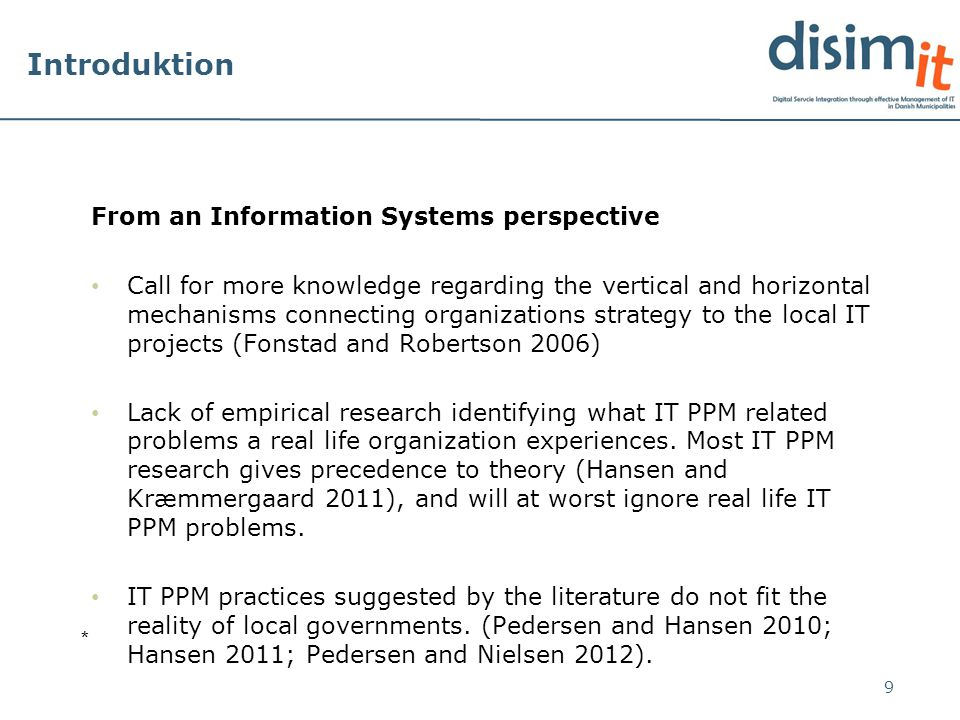 Analysis 20 Concept 3: Hierarchical decomposition problems Hansen and Kræmmergaard (2012a; 2012b)