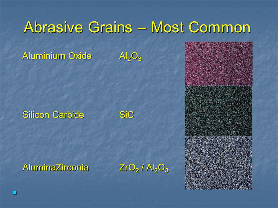 Three Main Components of all Coated Abrasives GrainBackingBonding