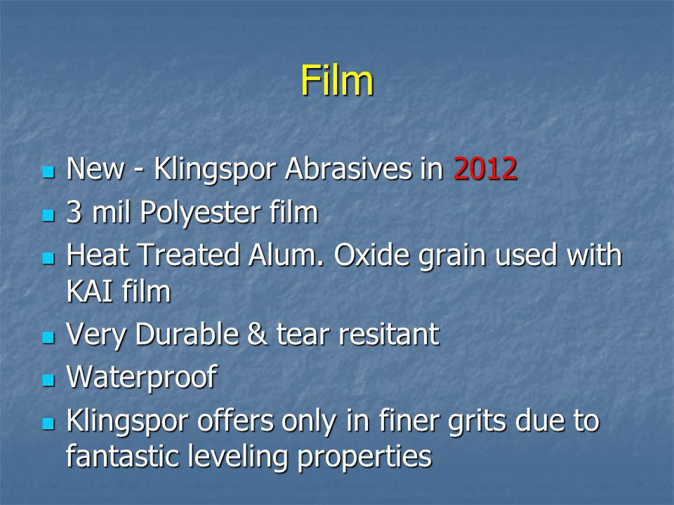 Latex NEW to Klingspor Abrasives in 2012 NEW to Klingspor Abrasives in 2012 Latex is infused into the paper fibers to create a much tougher backing La