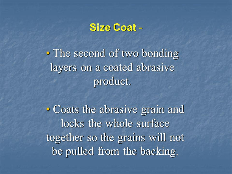 Structure of Coated Abrasives Backing Maker Coat Size Coat Abrasive Grain