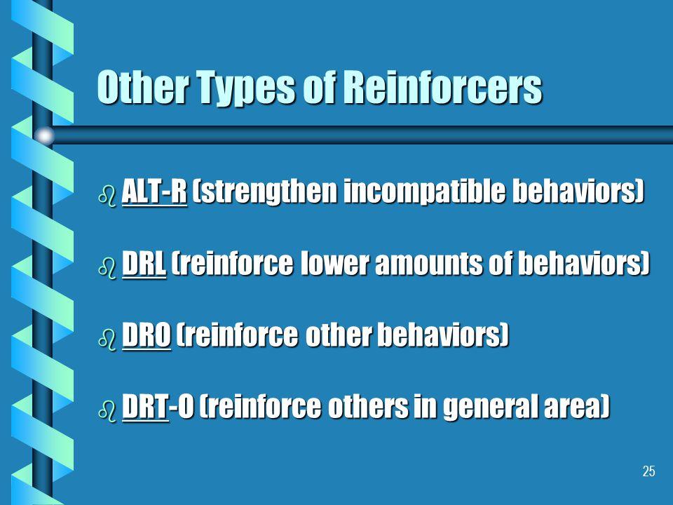 25 Other Types of Reinforcers b ALT-R (strengthen incompatible behaviors) b DRL (reinforce lower amounts of behaviors) b DRO (reinforce other behaviors) b DRT-O (reinforce others in general area)